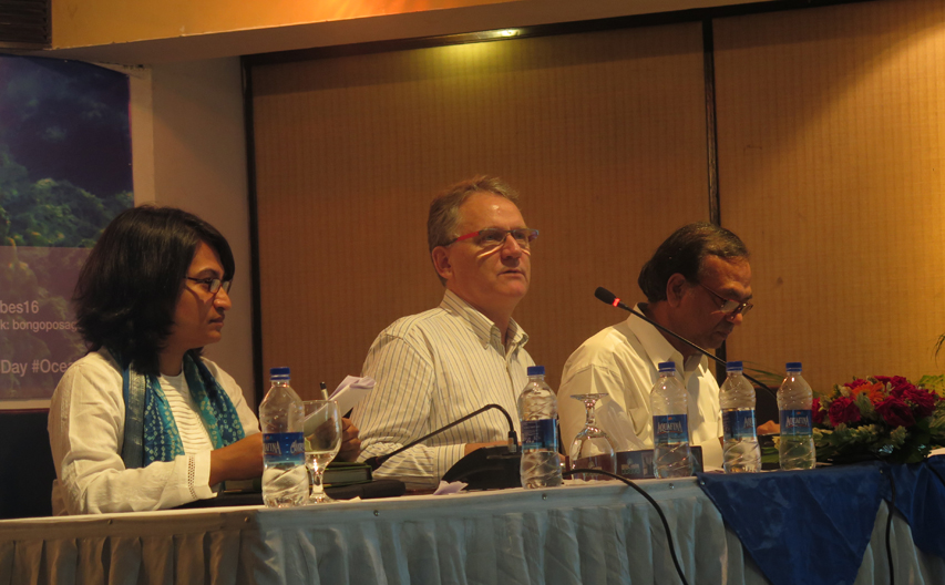 The program was chaired by Mr. Ishtiaq Uddin Ahmad, IUCN Country Representative (right), Mr. Jozef Vander Zanden (center) moderated the technical sessions with the assistance from Ms. Alifa Bintha Haque (left), Member Secretary of the symposium. Photo: Sultan Ahmed/ Save Our Sea